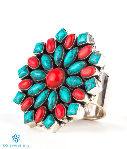 The Iha Silver Gemstone Cocktail Finger-ring(Coral/Turquoise)