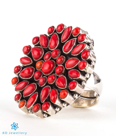 The Yukti Silver Gemstone Cocktail Finger-ring (Red)