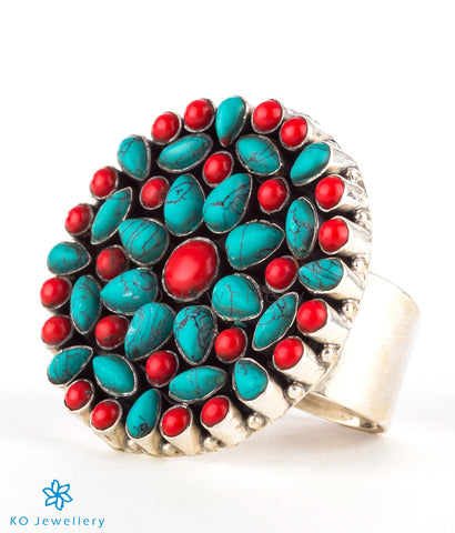 The Prisha Silver Gemstone Cocktail Finger-ring(Coral/Turquoise)