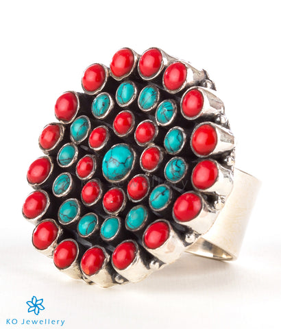 The Amrita Silver Gemstone Cocktail Finger-ring(Coral/Turquoise)