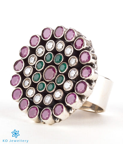 The Amrita Silver Gemstone Cocktail Finger-ring(Red/green)
