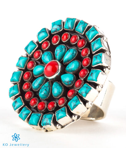 The Chitrani Silver Gemstone Cocktail Finger-ring (Coral/Turquoise)