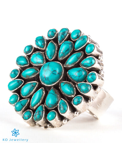 The Divit Silver Gemstone Cocktail Finger-ring (Turquoise)