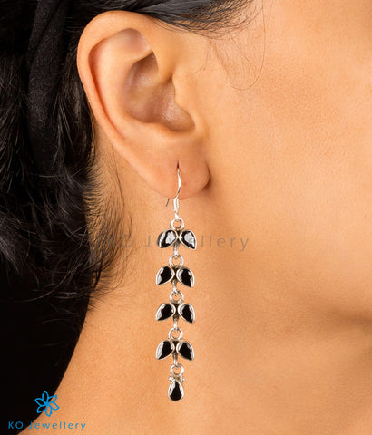 The Shiuli Silver Gemstone Earrings- Black