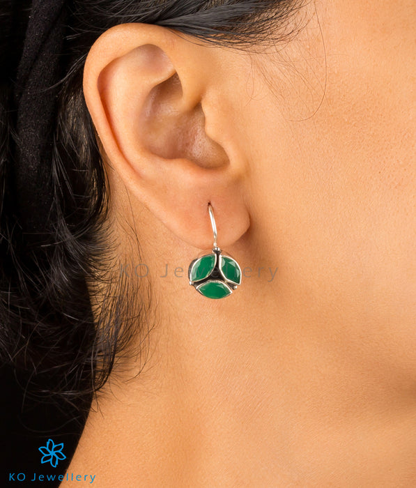 Handmade silver and zircon earrings online shopping India