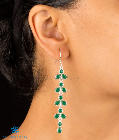 The Aham Silver Gemstone Earrings (Green)