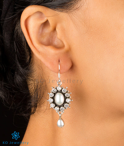 White zircon and pearl earrings handcrafted Jaipur jewellery designs online