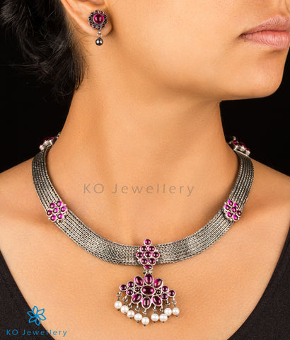 The Virajita Addigai Silver Necklace (Oxidised)