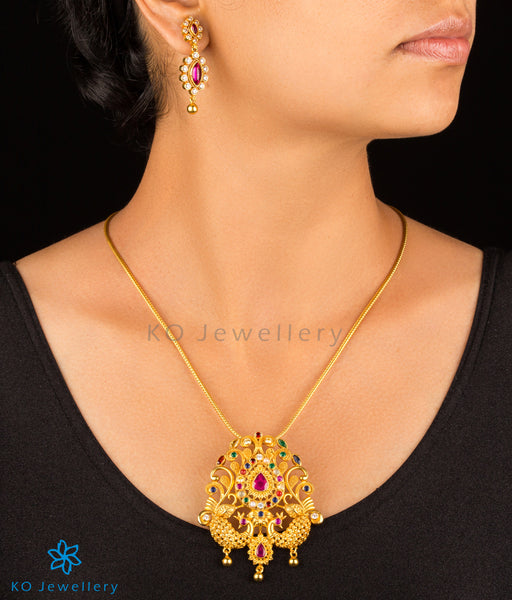 Silver silver gold plated temple jewellery set