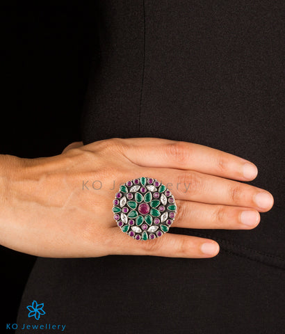 The Prisha Silver Gemstone Cocktail Finger-ring(Red/Green)