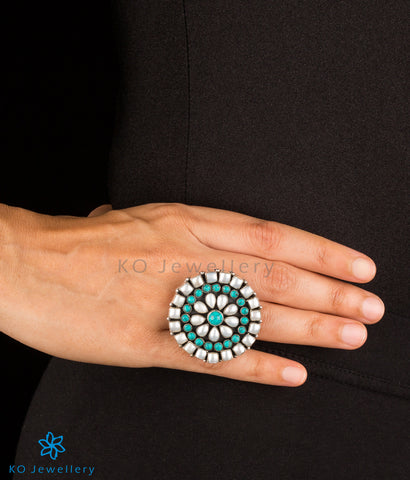 The Chitrani Silver Gemstone Cocktail Finger-ring (Pearl/Turquoise)