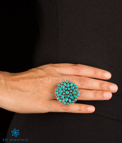 The Yukti Silver Gemstone Cocktail Finger-ring(Turquoise)