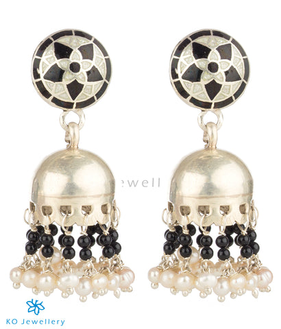 Handcrafted silver jhumkis with traditional mina work
