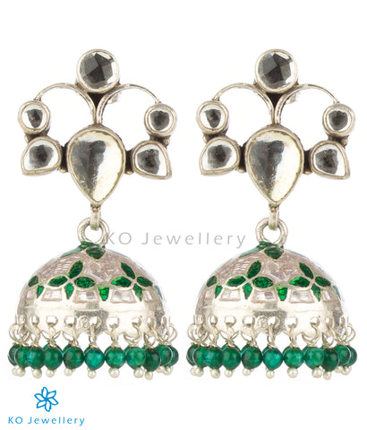 Handpainted meenakari jhumka earrings online with kundan