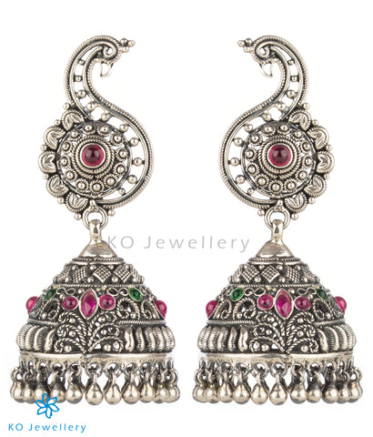 The Vrsin Silver Peacock Jhumka (Oxidised)