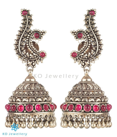 The Mayura Silver Peacock Jhumka (Oxidised)