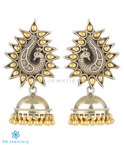 The Marala Silver Peacock Jhumka (Two-tone)
