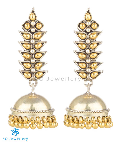 The Nirjhara Silver Jhumka (Two-tone)