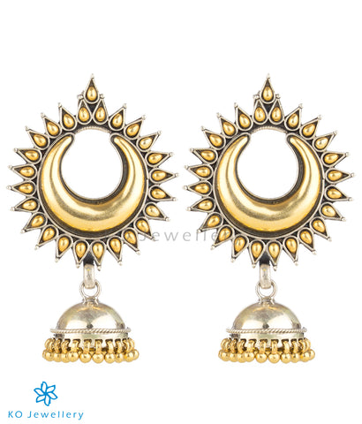The Mohini Silver Jhumka (Two-tone)
