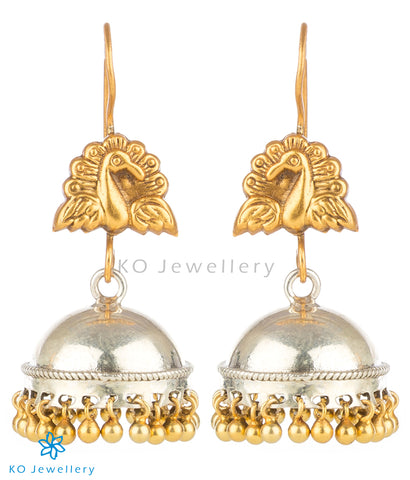 The Barha Silver Peacock Jhumka(Hook/Two-Tone)