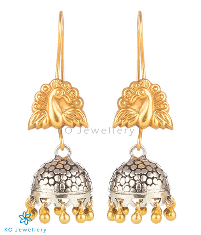 The Ojasvini Silver Peacock Jhumka (Two-tone)