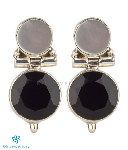 The Rasopala Silver Gemstone Earrings(Black)