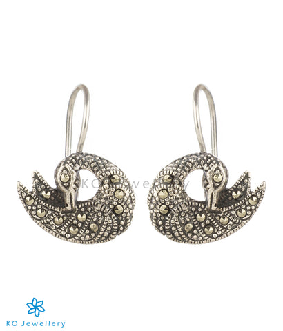 The Sparkling Swan Silver Earrings