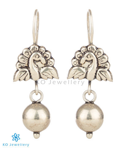 The Ahibhuj Silver Peacock Earrings(Oxidised)