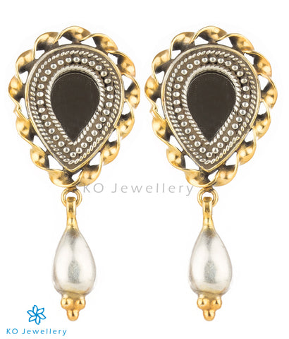 The Aaina Silver Mirror Earrings (Two-tone)