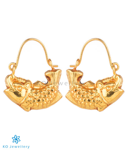 Exquisite South Indian style gold plated hoops