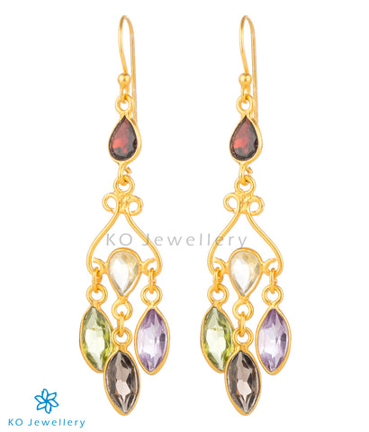 The Ameya Silver Gemstone Earrings(Gold)