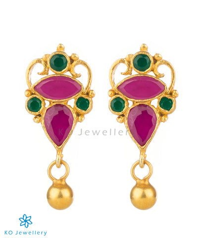 The Asmita Silver Ear-Studs(Red/Green)