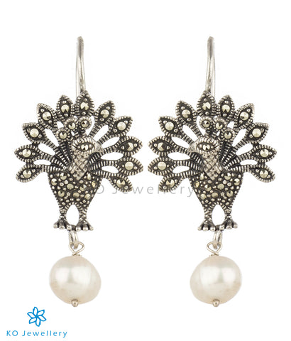 The Nrtu Mercasite Silver Peacock Earrings (Pearl)
