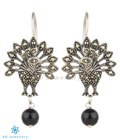 The Nrtu Mercasite Silver Peacock Earrings (Black)