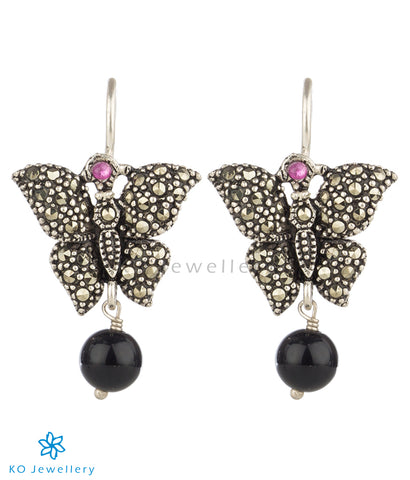 The Tittli Mercasite Silver Earrings (Black)