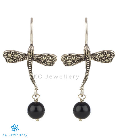 The Dragonfly Mercasite Silver Earrings (Black)