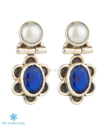 The Parijat Silver Gemstone Earrings(Blue)