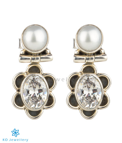 The Parijat Silver Gemstone Earrings(White)