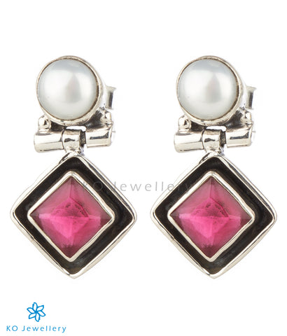 The Charit Silver Gemstone Earrings(Red)