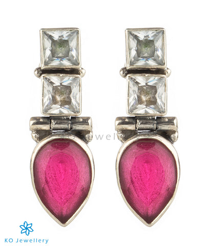 The Parikshit Silver Gemstone Earrings(Red)