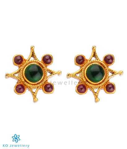 Gold plated office wear earrings with kempu stones