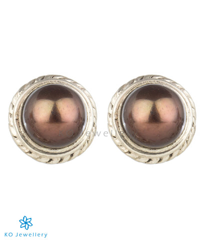 The Prisha Silver Earrings(Black Pearl)