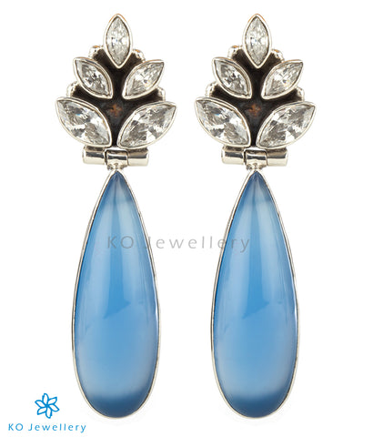 The Ujjvala Silver Gemstone Earrings(Blue)