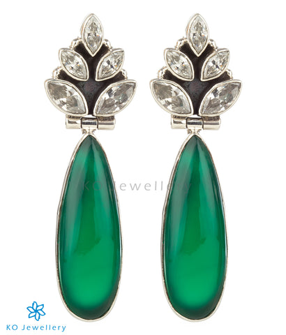 The Ujjvala Silver Gemstone Earrings(Green)