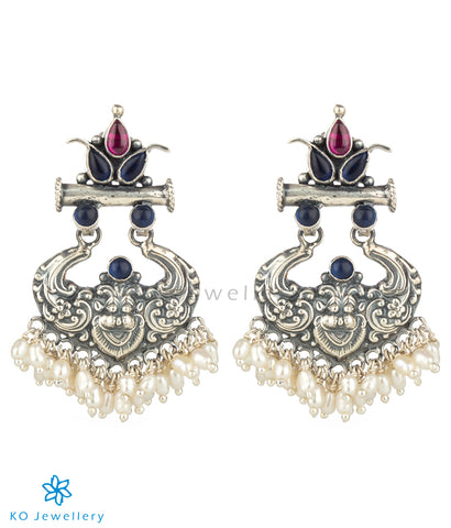 The Simha Visirimurugu Silver Earrings (Blue/Red)