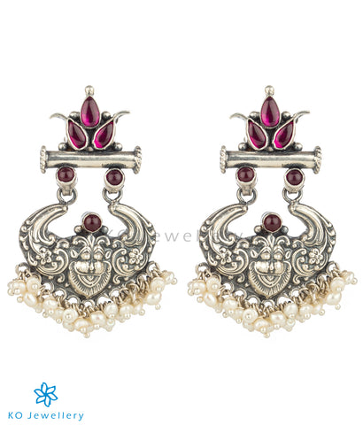 The Simha Visirimurugu Silver Earrings (Red)