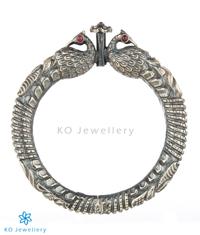 The Mayil Antique Silver Peacock Kada (Oxidised)