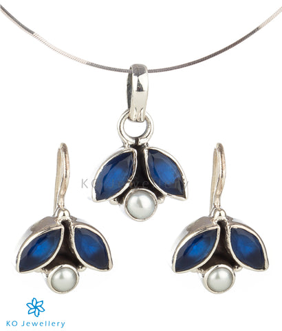 The Shyna Silver Gemstone Pendant Set (Blue)
