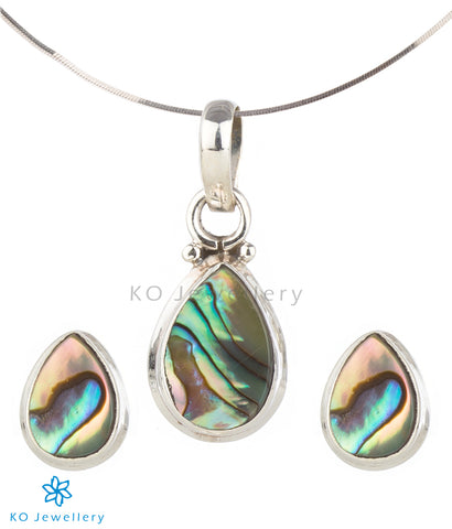 The Soham Silver Abalone Pendant Set (Push)