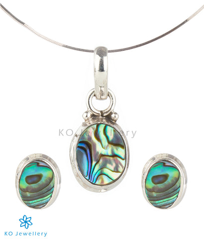 The Mukta Silver Abalone Pendant Set (Push)